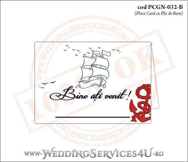 PCGN-032-B Place Card cu Plic de Bani sigilabil pentru Nunta sau Botez cu tematica marina (cu o barca (vapor) cu vele si o ancora rosie)