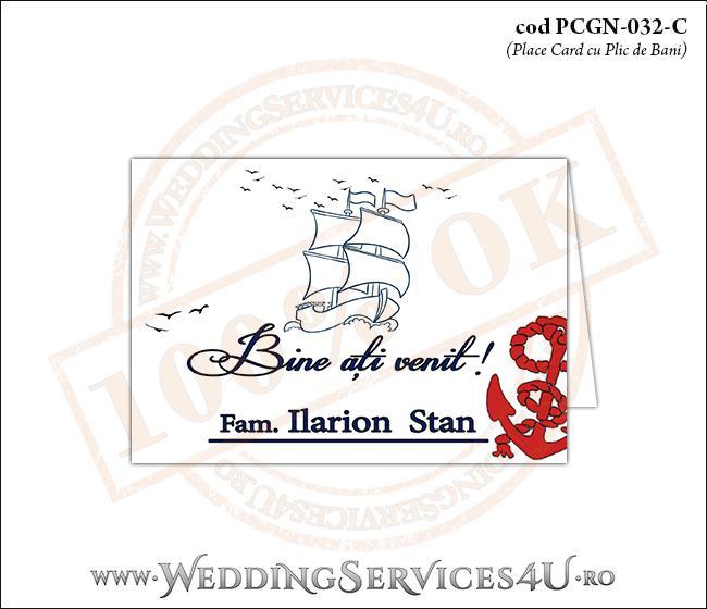 PCGN-032-C Place Card cu Plic de Bani sigilabil pentru Nunta sau Botez cu tematica marina (cu o barca (vapor) cu vele si o ancora rosie)