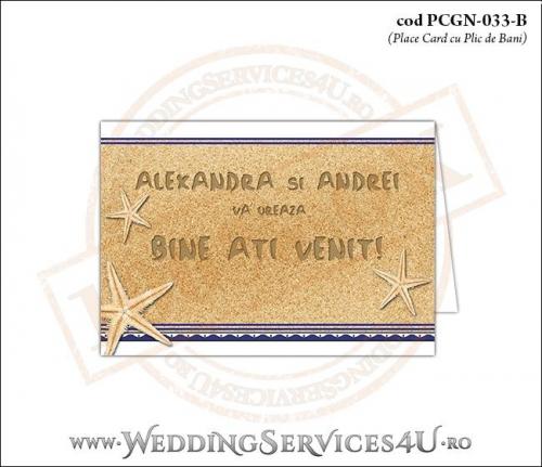 PCGN-033-B Place Card cu Plic de Bani sigilabil pentru Nunta sau Botez cu tematica marina (cu fundal de nisip cu motive grecesti si stele de mare)