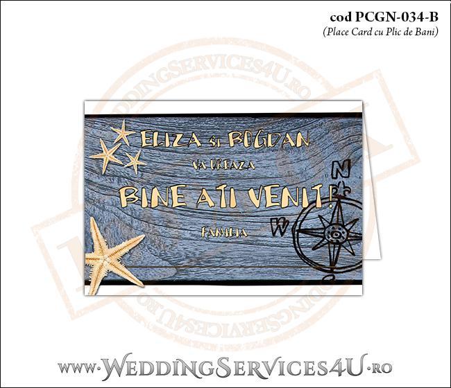 PCGN-034-B Place Card cu Plic de Bani sigilabil pentru Nunta sau Botez cu tematica marina (cu busola si stele de mare pe un fundal de lemn)
