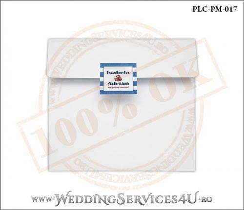 Plic Patrat pentru invitatie de Nunta Colorat Personalizat cu tematica marina realizat din carton alb mat cu Monograma Aplicata. PLC-PM-017-1