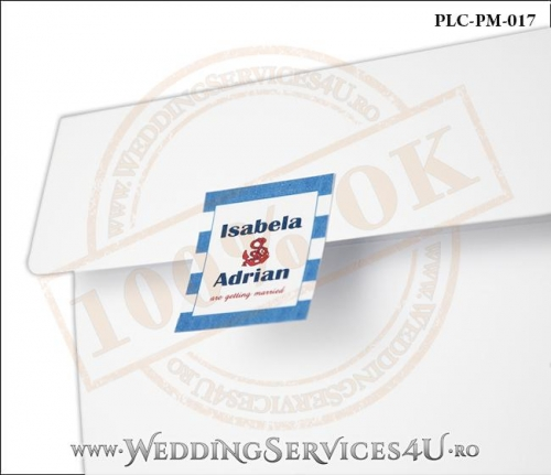 Plic Patrat pentru invitatie de Nunta Colorat Personalizat cu tematica marina realizat din carton alb mat cu Monograma Aplicata. PLC-PM-017-2