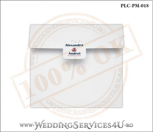 Plic Patrat pentru invitatie de Nunta Colorat Personalizat cu tematica marina realizat din carton alb mat cu Monograma Aplicata. PLC-PM-018-1