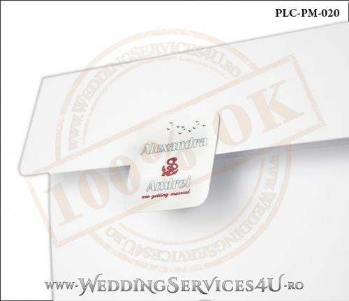 Plic Patrat pentru invitatie de Nunta Colorat Personalizat cu tematica marina realizat din carton alb mat cu Monograma Aplicata. PLC-PM-020-2