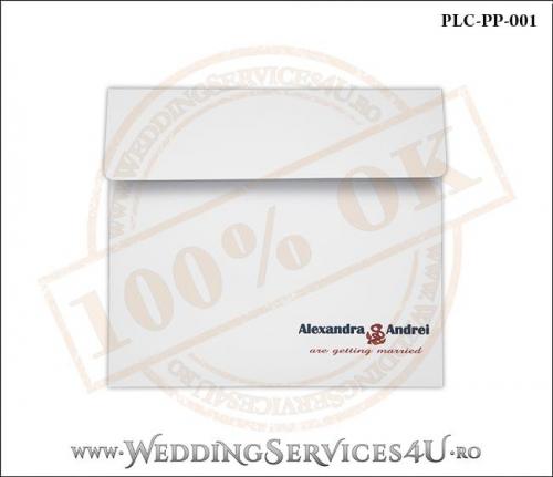 Plic Patrat pentru invitatie de Nunta Colorat Personalizat cu tematica marina realizat din carton alb mat cu Monograma Tiparita. PLC-PP-001-1