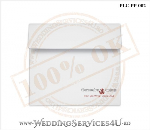 Plic Patrat pentru invitatie de Nunta Colorat Personalizat cu tematica marina realizat din carton alb mat cu Monograma Tiparita. PLC-PP-002-1