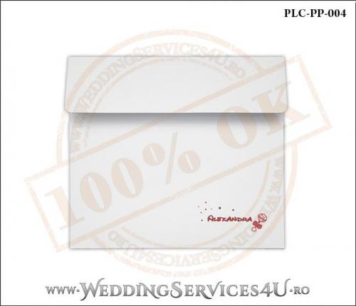 Plic Patrat pentru invitatie de Botez Colorat Personalizat realizat din carton alb mat cu Monograma Tiparita. PLC-PP-004-1