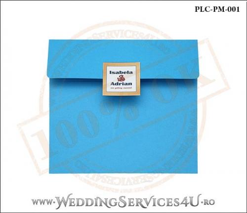 Plic Patrat pentru invitatie de Nunta Colorat Personalizat cu tematica marina realizat din carton albastru mat cu Monograma Aplicata. PLC-PM-001-1