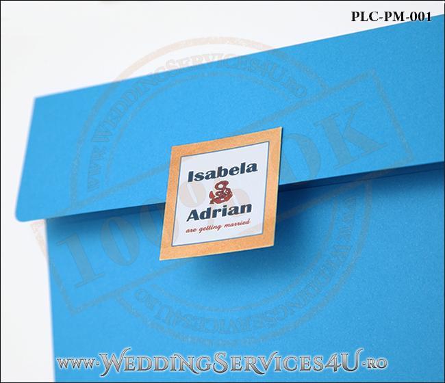 Plic Patrat pentru invitatie de Nunta Colorat Personalizat cu tematica marina realizat din carton albastru mat cu Monograma Aplicata. PLC-PM-001-2