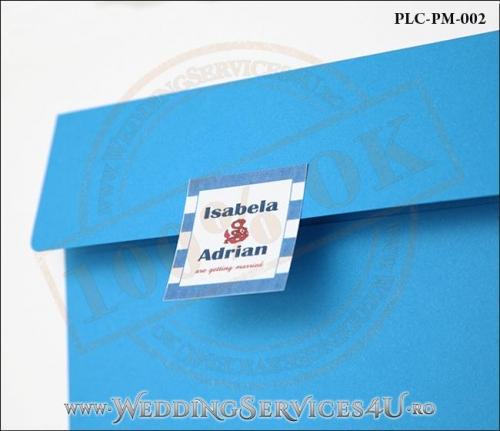 Plic Patrat pentru invitatie de Nunta Colorat Personalizat cu tematica marina realizat din carton albastru mat cu Monograma Aplicata. PLC-PM-002-2