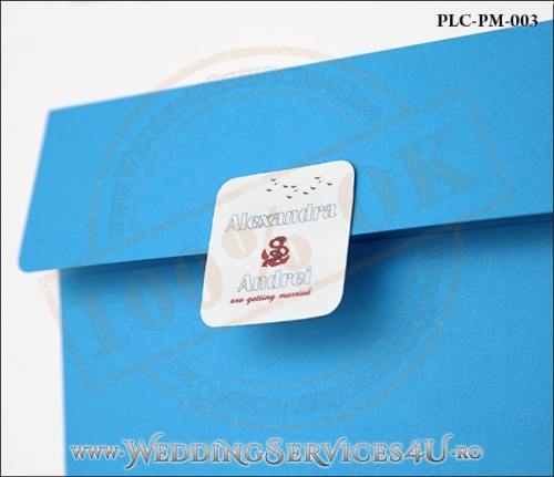 Plic Patrat pentru invitatie de Nunta Colorat Personalizat cu tematica marina realizat din carton albastru mat cu Monograma Aplicata. PLC-PM-003-2