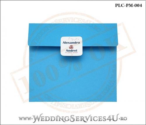 Plic Patrat pentru invitatie de Nunta Colorat Personalizat cu tematica marina realizat din carton albastru mat cu Monograma Aplicata. PLC-PM-004-1