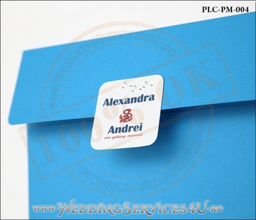 Plic Patrat pentru invitatie de Nunta Colorat Personalizat cu tematica marina realizat din carton albastru mat cu Monograma Aplicata. PLC-PM-004-2