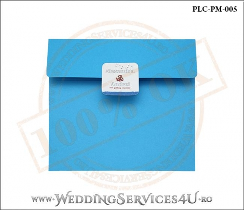 Plic Patrat pentru invitatie de Nunta Colorat Personalizat cu tematica marina realizat din carton albastru mat cu Monograma Aplicata. PLC-PM-005-1