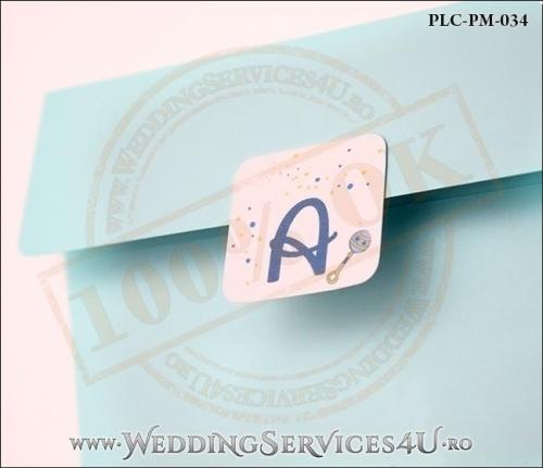 Plic Patrat Invitatie Nunta-Botez PLC-PM-034-2 Bleu