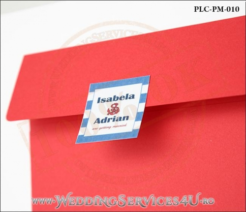 Plic Patrat pentru invitatie de Nunta Colorat Personalizat cu tematica marina realizat din carton rosu mat cu Monograma Aplicata. PLC-PM-010-2