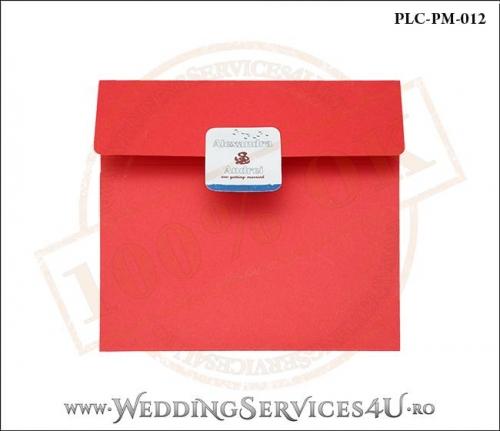 Plic Patrat pentru invitatie de Nunta Colorat Personalizat cu tematica marina realizat din carton rosu mat cu Monograma Aplicata. PLC-PM-012-1