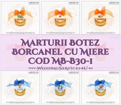 Marturii Botez Borcanel cu Miere Cod MB-B30-1 by WeddingServices4U.ro