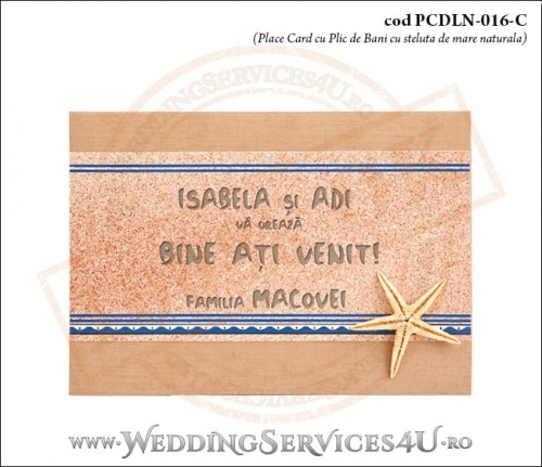 PCDLN-016-C-01 place card cu plic de bani maro crem elegant nunta botez marin cu tematica marina si stea de mare naturala