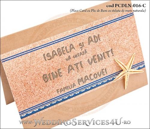 PCDLN-016-C-02 place card cu plic de bani deosebit maro crem nunta botez cu tematica marina si steluta de mare naturala