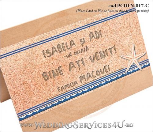 PCDLN-017-C-02 place card cu plic de bani nunta botez maro crem marin cu tematica marina si stele de mare pe nisipe