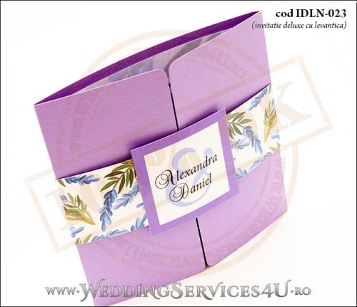 Invitatie_Deluxe_Nunta_Botez_IDLN-023-02_cu_flori_de_levantica