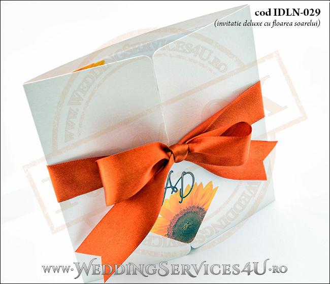 Invitatie_Deluxe_Nunta_Botez_IDLN-029-02_cu_flori_de_floarea_soarelui
