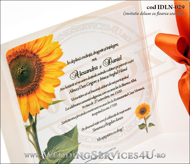 Invitatie_Deluxe_Nunta_Botez_IDLN-029-07_cu_grafica_cu_flori_de_floarea_soarelui