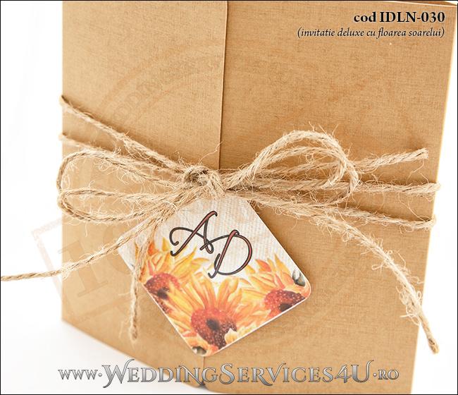 Invitatie_Deluxe_Nunta_Botez_IDLN-030-03_populara_cu_flori_de_floarea_soarelui