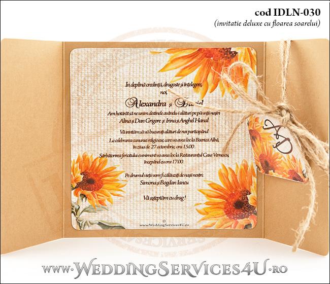 Invitatie_Deluxe_Nunta_Botez_IDLN-030-06_cu_grafica_cu_flori_de_floarea_soarelui