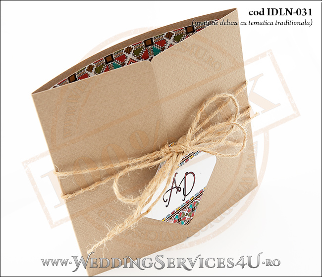 Invitatie_Deluxe_Nunta_Botez_IDLN-031-02_cu_model_popular_romanesc