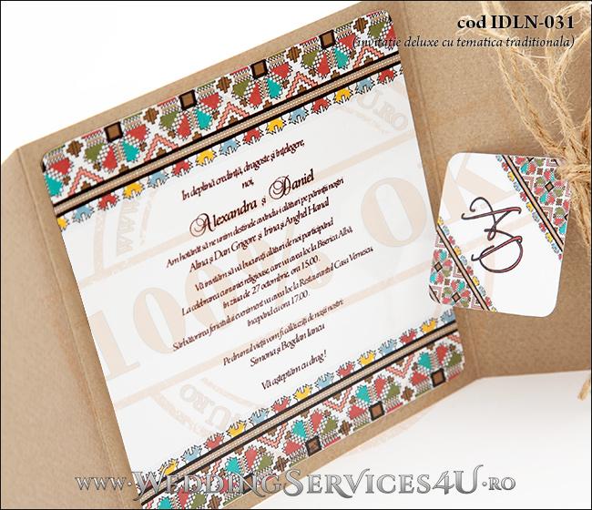 Invitatie_Deluxe_Nunta_Botez_IDLN-031-07_cu_model_popular_traditional_romanesc