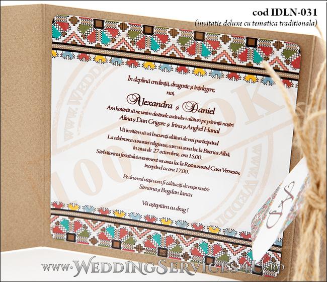 Invitatie_Deluxe_Nunta_Botez_IDLN-031-08_cu_grafica_port_Popular_traditional_romanesc