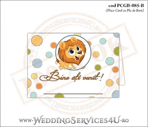 PCGB-085-B Place Card cu Plic de Bani sigilabil pentru Botez cu Pui de Leu leut