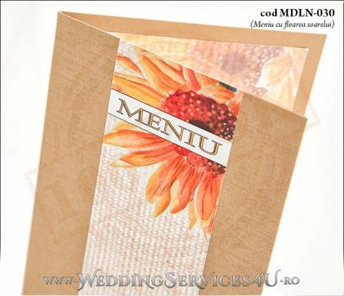 MDLN-030-02_meniu_deosebit_rustic_nunta_botez_flori_de_floarea_sorelui