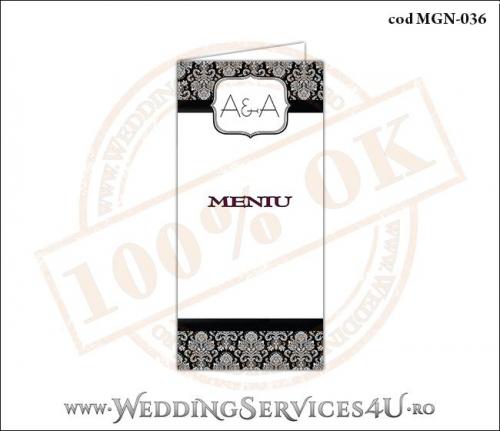 MGN-036 Meniu pentru Nunta sau Botez cu grafica alb-negru eleganta pe stil clasic retro royal