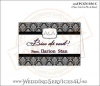 PCGN-036-C Place Card cu Plic de Bani sigilabil pentru Nunta sau Botez cu grafica alb-negru eleganta pe stil clasic retro royal