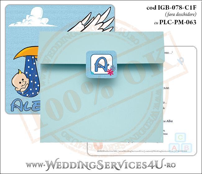 IGB-078-C1F cu PLC-PM-063 Invitatie de Botez 'baby delivery' cu o barza in zbor ducand in cioc un bebelus