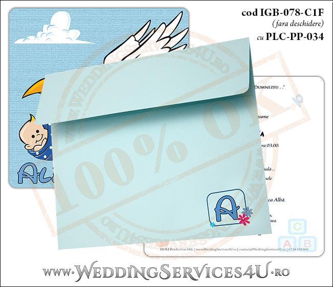 IGB-078-C1F cu PLC-PP-034 Invitatie de Botez 'baby delivery' cu o barza in zbor ducand in cioc un bebelus
