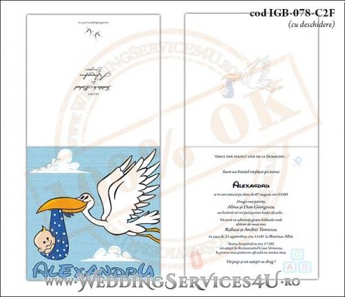 IGB-078-C2F Invitatie de Botez 'baby delivery' cu o barza in zbor ducand in cioc un bebelus