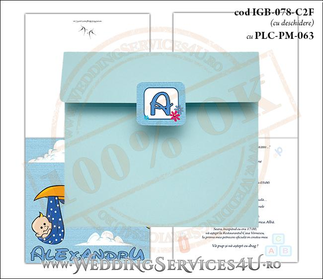 IGB-078-C2F cu PLC-PM-063 Invitatie de Botez 'baby delivery' cu o barza in zbor ducand in cioc un bebelus