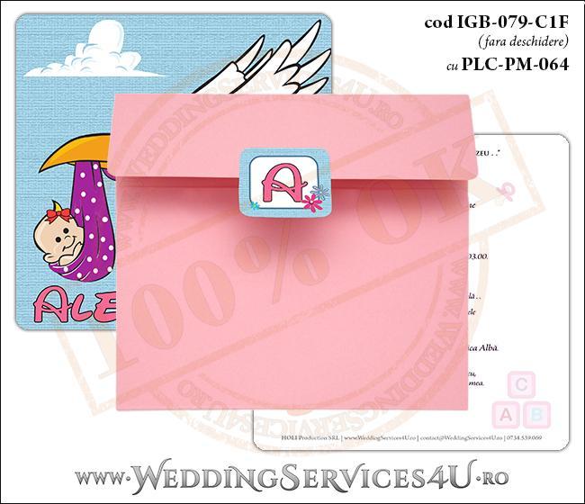 IGB-079-C1F cu PLC-PM-064 Invitatie de Botez cu Barza (baby delivery)