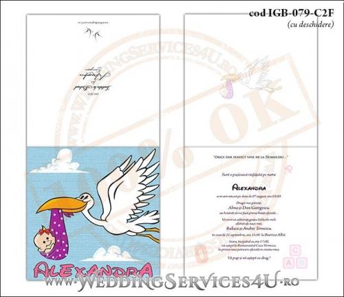IGB-079-C2F Invitatie de Botez cu Barza (baby delivery)