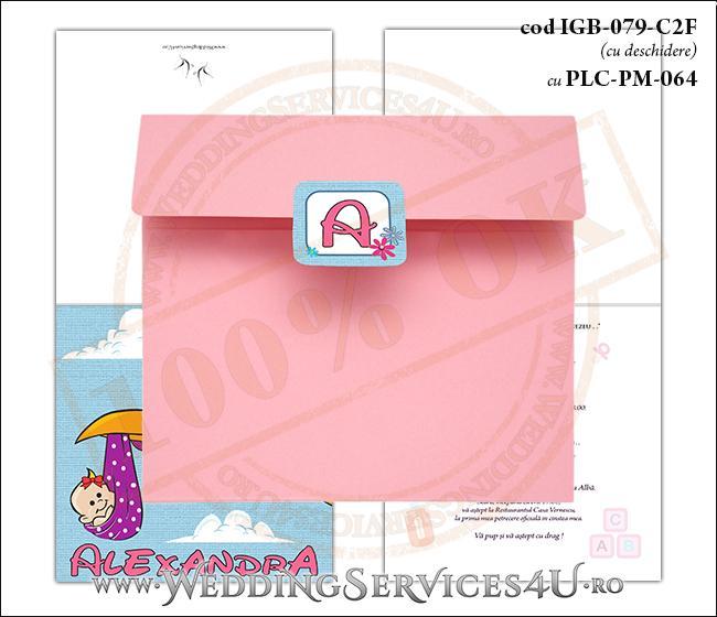 IGB-079-C2F cu PLC-PM-064 Invitatie de Botez cu Barza (baby delivery)