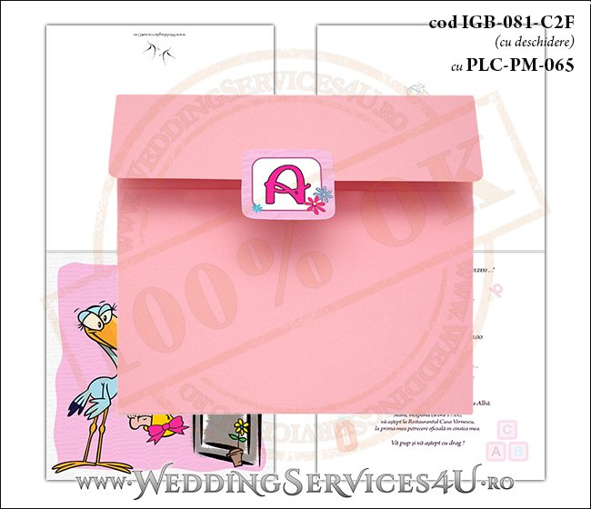 IGB-081-C2F cu PLC-PM-065 Invitatie de Botez cu o barza 'livrand' un bebelus la usa casei (baby delivery)