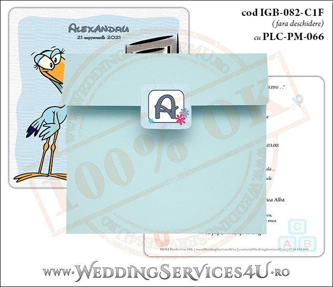 IGB-082-C1F cu PLC-PM-066 Invitatie de Botez cu o barza 'livrand' un bebelus la usa casei (baby delivery)