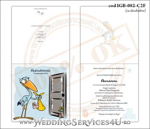 IGB-082-C2F Invitatie de Botez cu o barza 'livrand' un bebelus la usa casei (baby delivery)