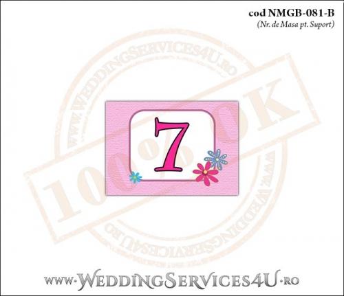 NMGB-081-B Numar de Masa pentru Botez cu o barza 'livrand' un bebelus la usa casei (baby delivery)