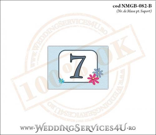 NMGB-082-B Numar de Masa pentru Botez cu o barza 'livrand' un bebelus la usa casei (baby delivery)