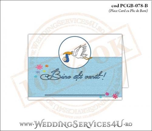 PCGB-078-B Place Card cu Plic de Bani sigilabil pentru Botez 'baby delivery' cu o barza in zbor ducand in cioc un bebelus